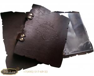 Фото папки меню для бани из кожи