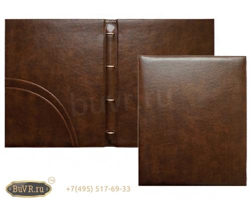 папка меню на кольцах коричневая